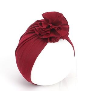 Baby Flower Ruffle Turban Hat Burgundy Wine